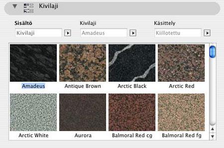 Materiaalit generoidaan objektin koodissa, eikä käyttäjän materiaalivalikkoon pakoteta 225 kpl kivimateriaaleja. Kuvassa materiaalin valinta.