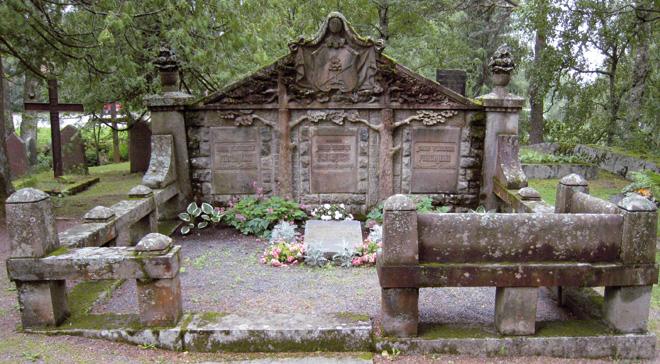 Urjalan Honkolan kartanon isäntä perheineen on haudattu (1894–1909) vuolukivisen, sukuvaakunalla somistetun paaden alle. Aitaaminen kiellettiin 60luvulla hautausmaan hoitoa hankaloittavana.