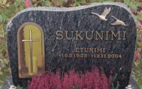 Lyhtyaukollinen hautamuistomerkki. Materiaalina Savon Helmi.