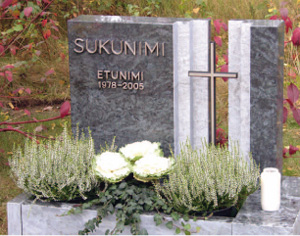 Hautamuistomerkki. Materiaalina uusi kotimainen kivilaji, Pohjolan Loimu.